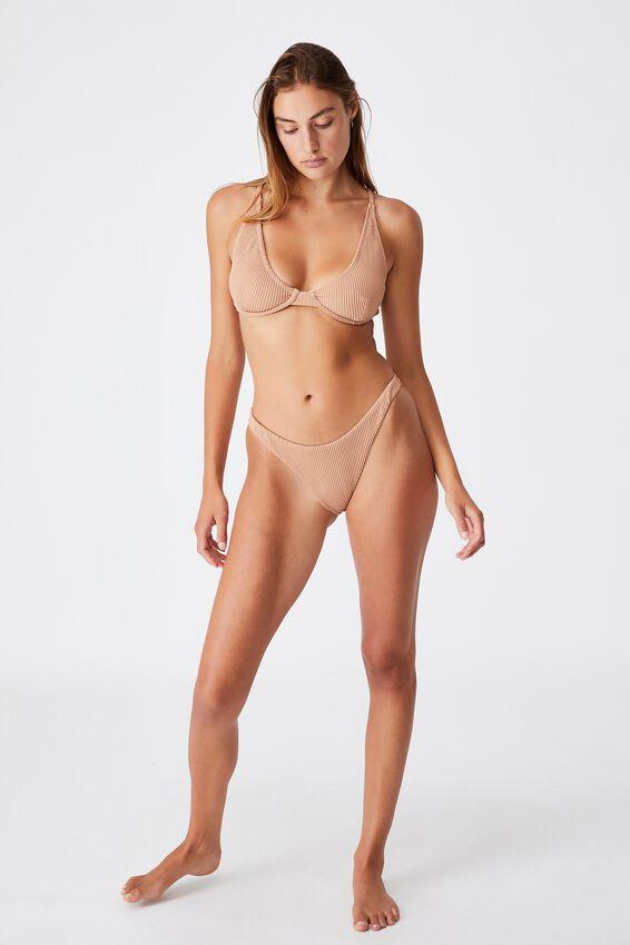 Gathered Bum Brazilian Bikini Bottom, LION BROWN CRINKLE