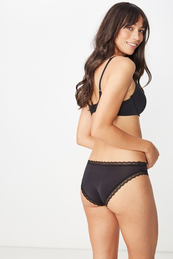 Smooth Lace Trim Bikini Brief, BLACK