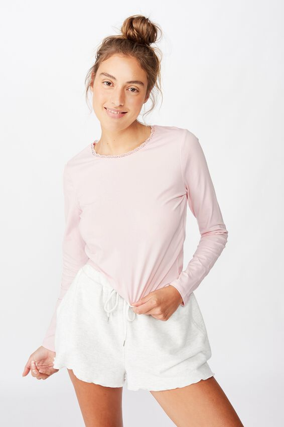 Bed Time Jersey Top, CRYSTAL PINK