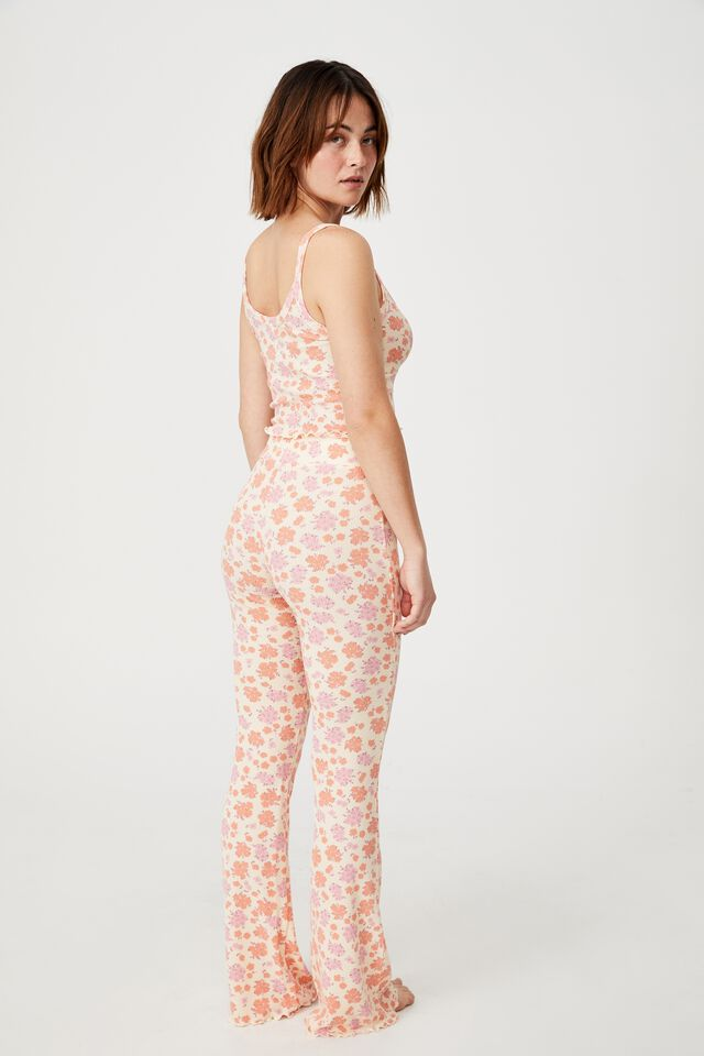 Bed Time Waffle Singlet, FLORAL BUNCH DITZY ORANGE