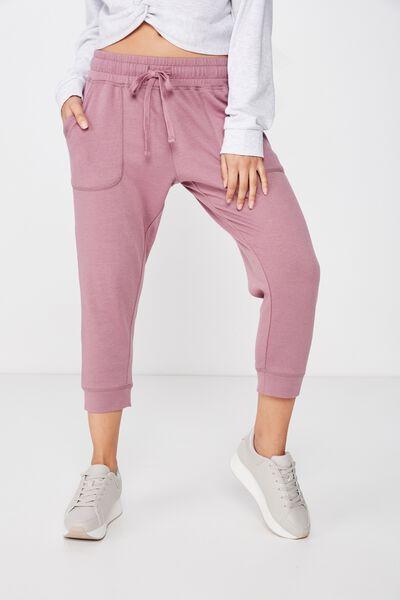 Cropped Gym Track Pants, MAUVE