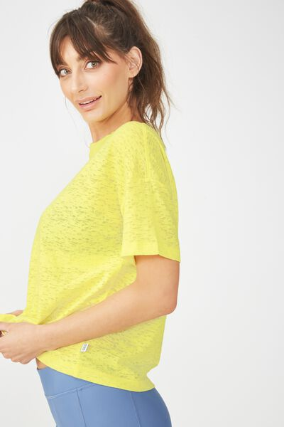 Boxy Burnout T Shirt, SUNFLOWER YELLOW