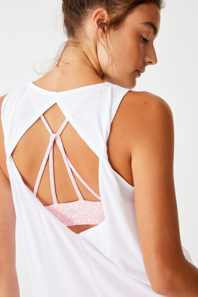 Two In One Twist Tank, WHITE/PEONY PINK SPOTIMAL