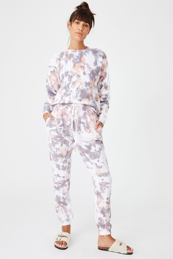Lifestyle Gym Track Pant, WASHED APRICOT TIE DYE