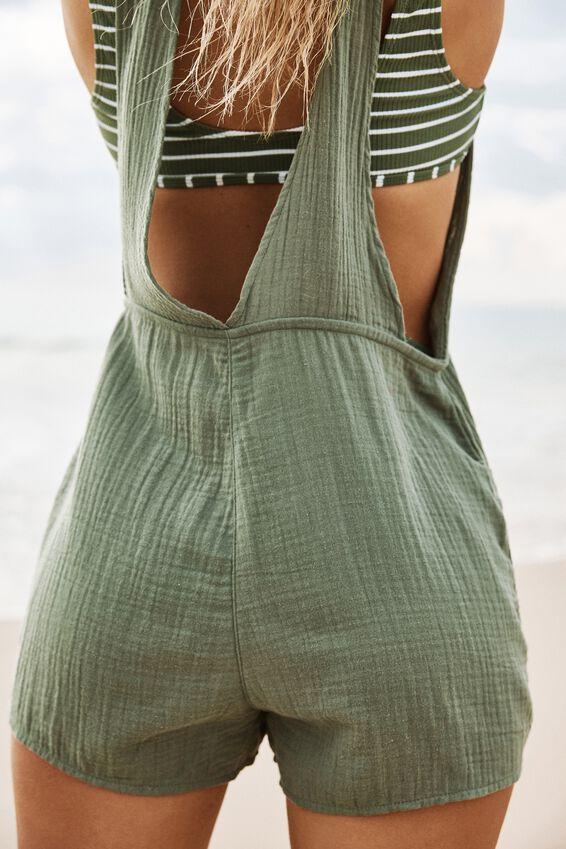 Tie Up Beach Playsuit, COOL AVOCADO