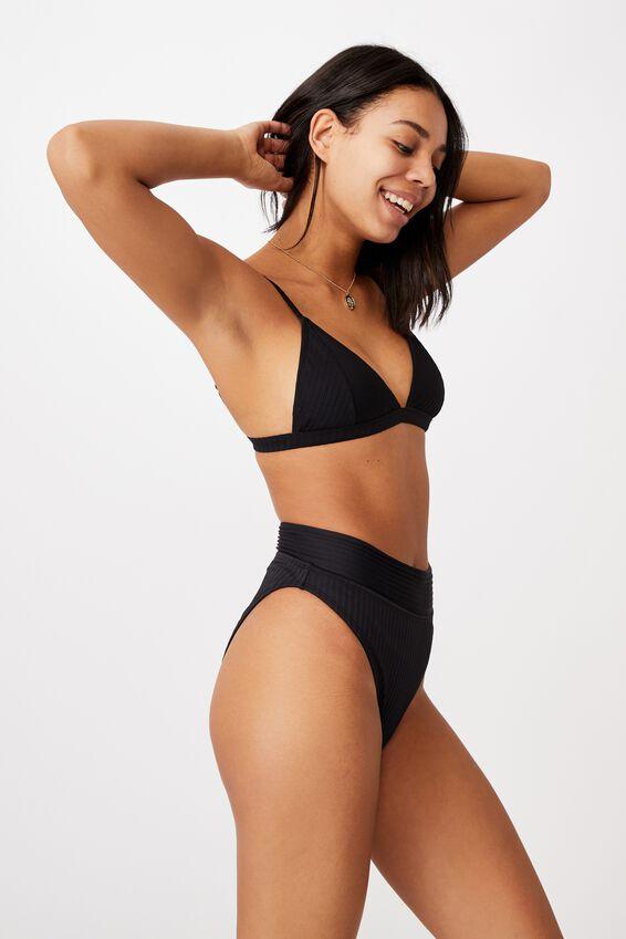 Highwaisted Cheeky Bikini Bottom, BLACK RIB 20