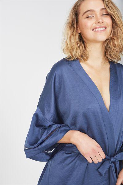 Textured Kimono Gown, DARK STORM BLUE