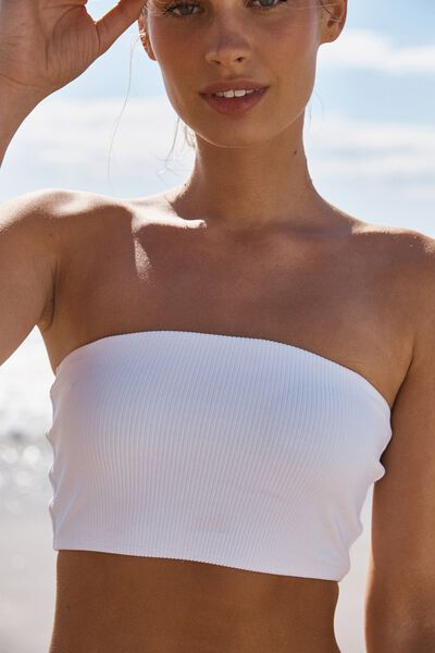 Longline Bandeau Bikini Top, WHITE RIB 20