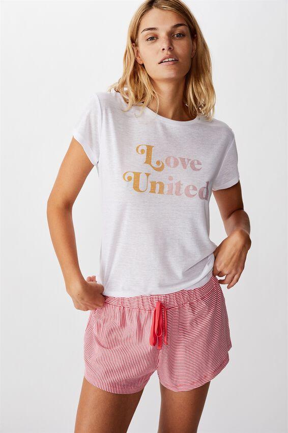 Dreamy Sleep T-Shirt, LOVE UNITED/WHITE