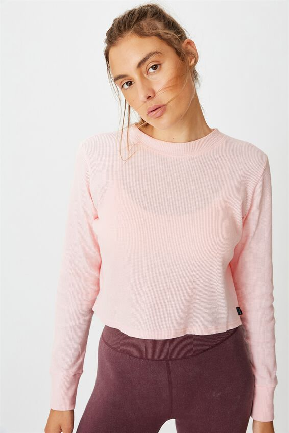 Cross Back Waffle Long Sleeve Top, PINK SHERBET