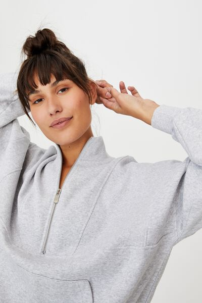 Lifestyle Half Zip Fleece Top, GREY MARLE