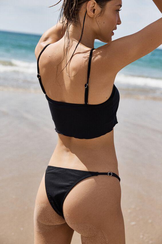Lettuce Edge Longline Bikini Top, BLACK RIB
