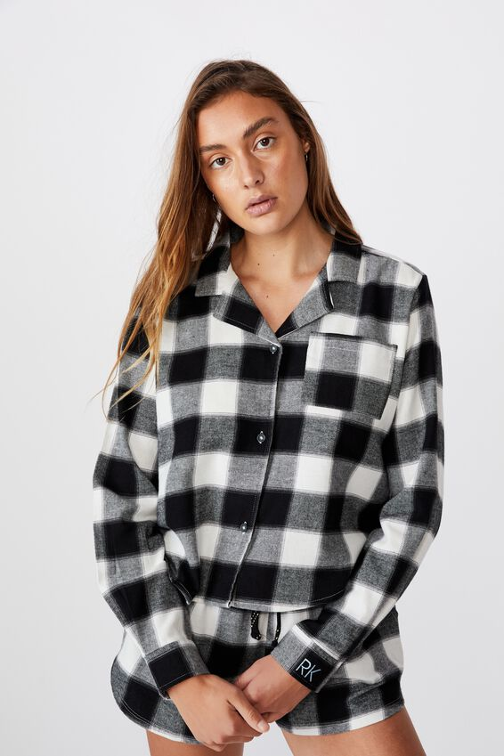 Personalised Flannel Sleep Shirt, SQUARE CHECK BLACK