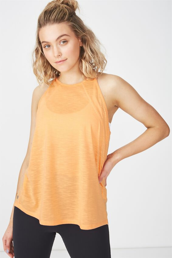 High Neck Tank Top, WASHED HEAT WAVE ORANGE