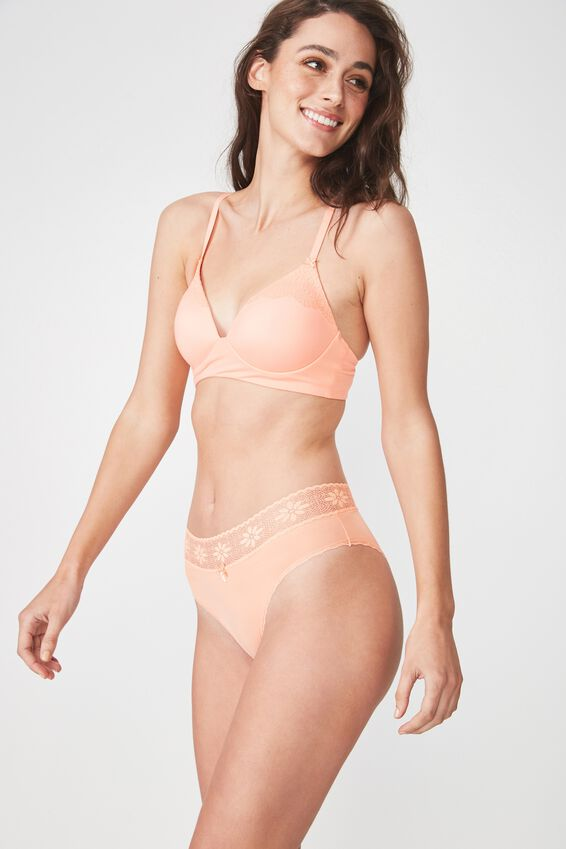 High Waist Lace Trim Cheeky Brief, PEACHY