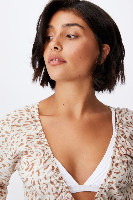 Tie Front Beach Top, MOVEMENT LEOPARD