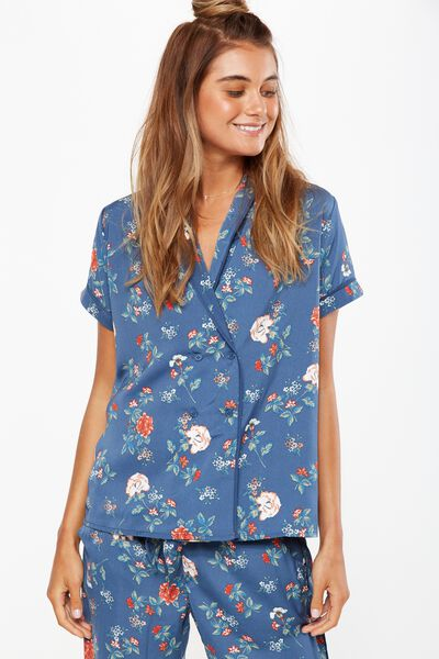 Love Story Short Shirt, TOSSED FLORAL/INFINITY BLUE
