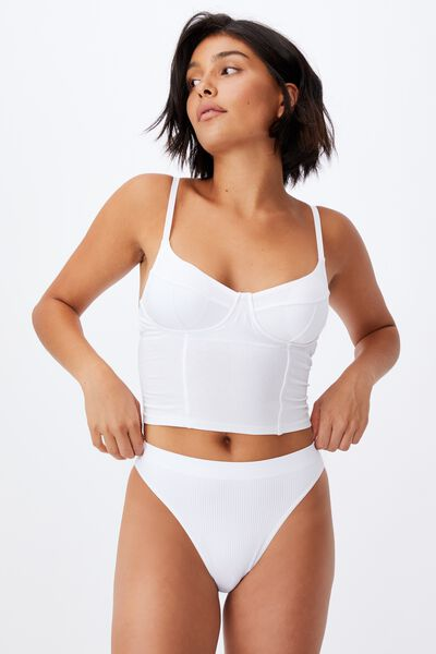 Organic Cotton Bustier With Cups, WHITE