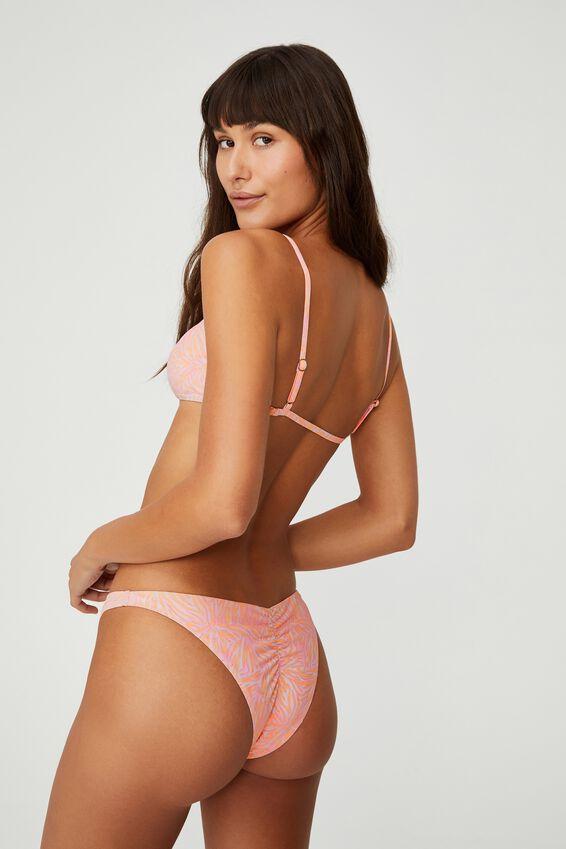 Gathered Bum Brazilian Bikini Bottom, ZEBRA OVERLAY