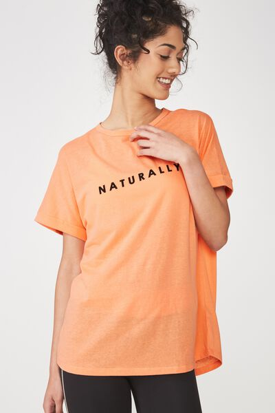 Dropped Shoulder Slogan T Shirt, CHALKY PEACH / NATURALLY