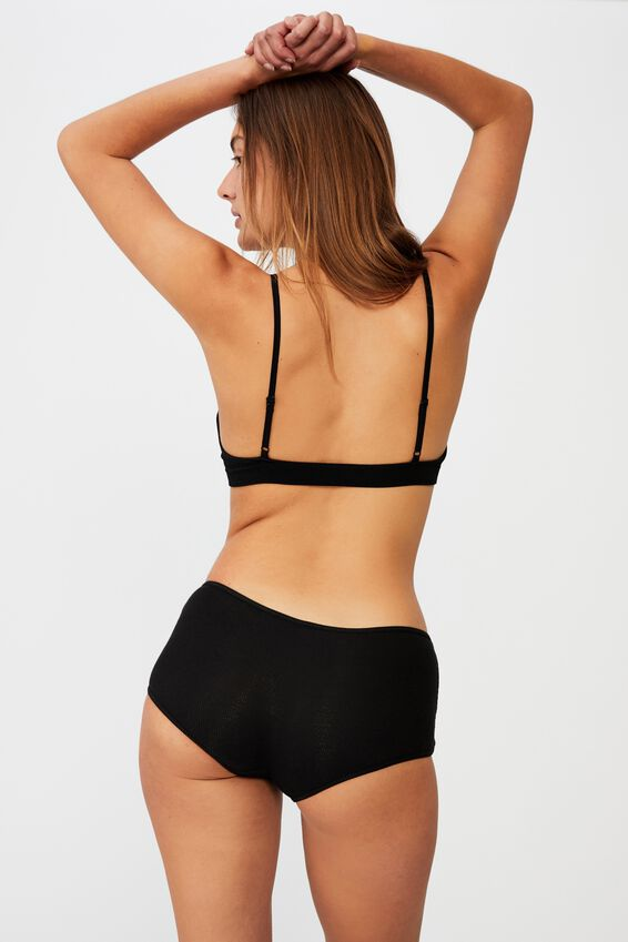 Cotton Rib Boyshort, BLACK