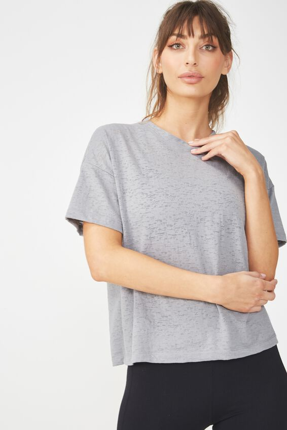 Boxy Burnout T Shirt, MID GREY