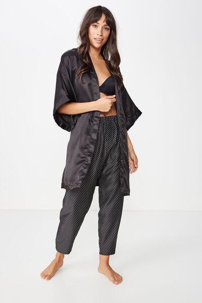 Kimono Gown, BLACK
