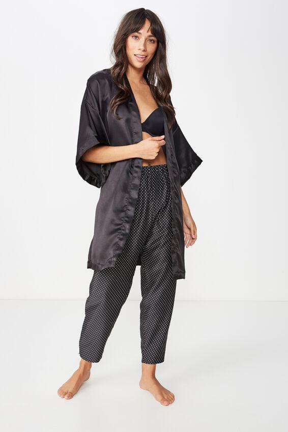 Kimono Robe, BLACK