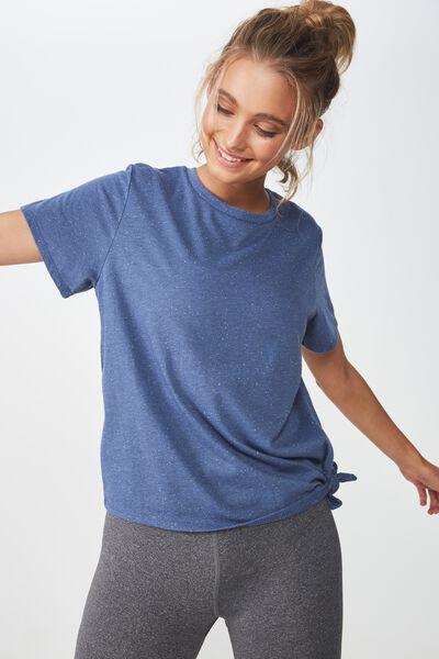 Side Tie Tshirt, STEEL BLUE/SPECKLE