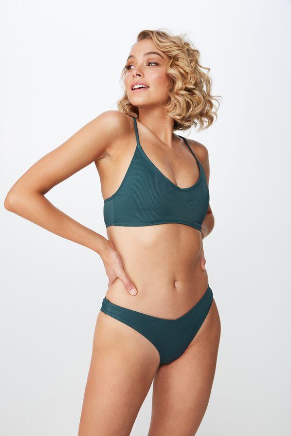 Sara Rib V High Side Cut Cheeky Bikini Bottom, HEDGE GREEN