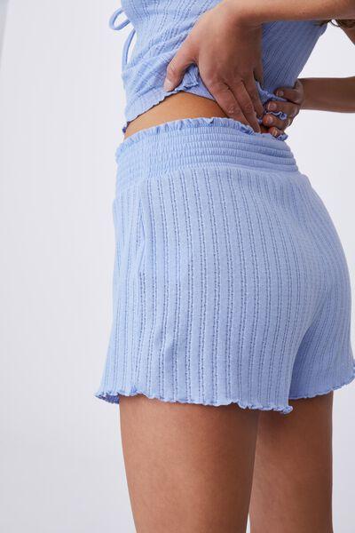 Knit Pointelle Bed Short, CORNFLOWER