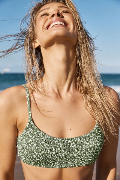Scoop Crop Bralette Bikini Top, COOL AVOCADO DITSY SHIRRED