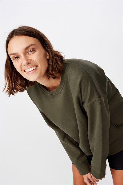 Long Sleeve Fleece Crew Top, WINTER KHAKI