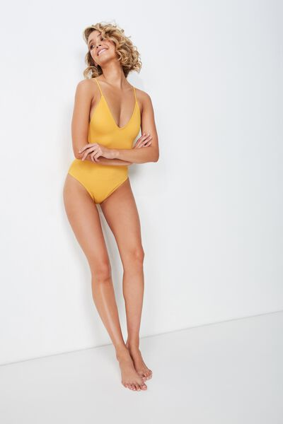 Deep V One Piece Cheeky, MARIGOLD