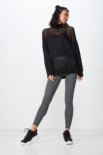 Spliced Mesh Long Sleeve Top, BLACK