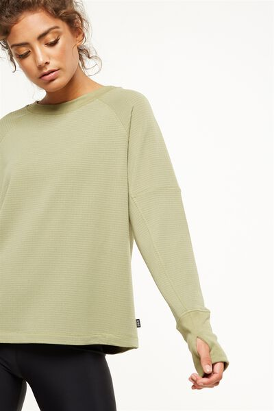 Waffle Crew Neck Long Sleeve Top, HIKING GREEN