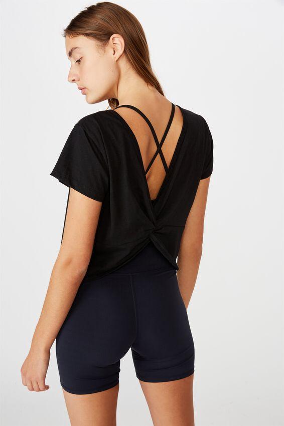 Lifestyle Twist Back Tshirt, BLACK