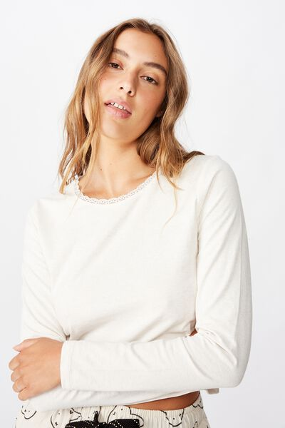 Bed Time Jersey Top, PORRIDGE MARLE