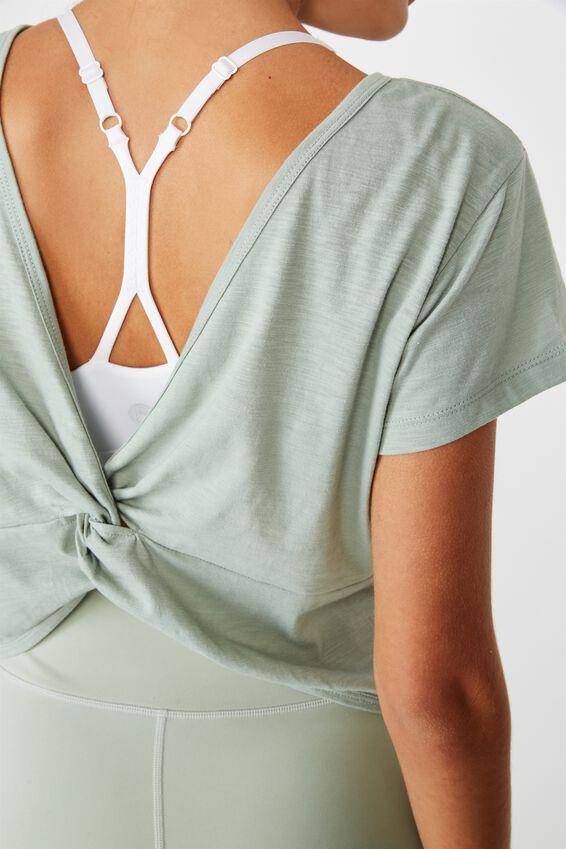 Lifestyle Twist Back Tshirt, WASHED ALOE