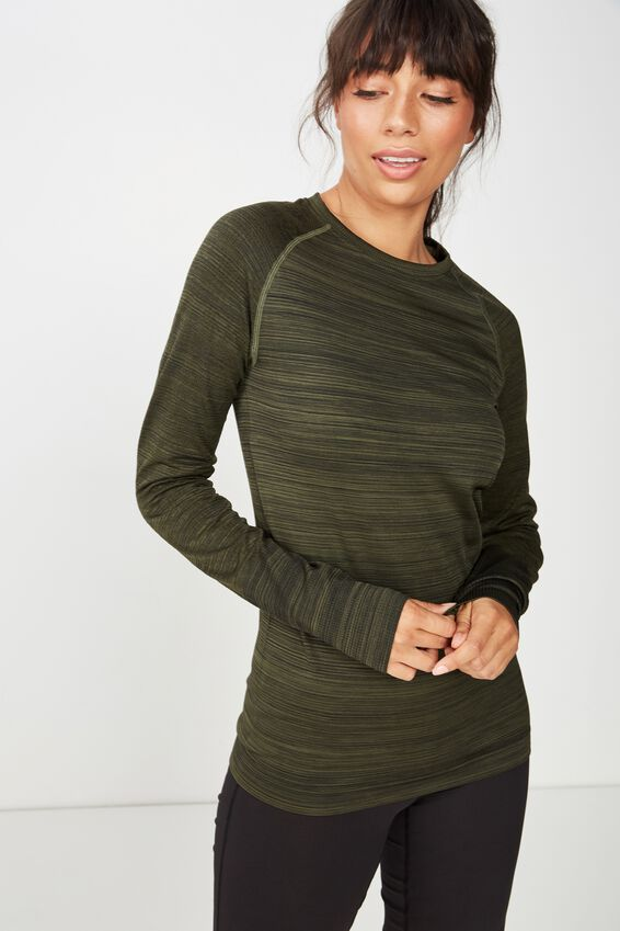 Seamfree Sports Longsleeve Top, OLIVE BRANCH MARLE