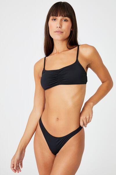 Gathered Front Backless Bikini Top, BLACK