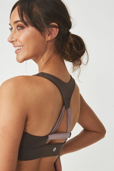 Tempo Spliced Sports Crop, SMOKEY BRONZE/THISTLE MAUVE
