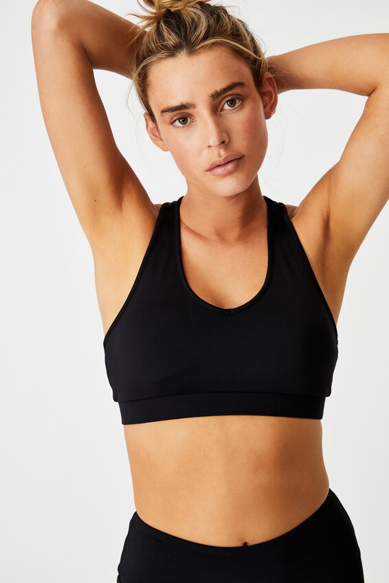 V-Neck Cut Out Crop, BLACK