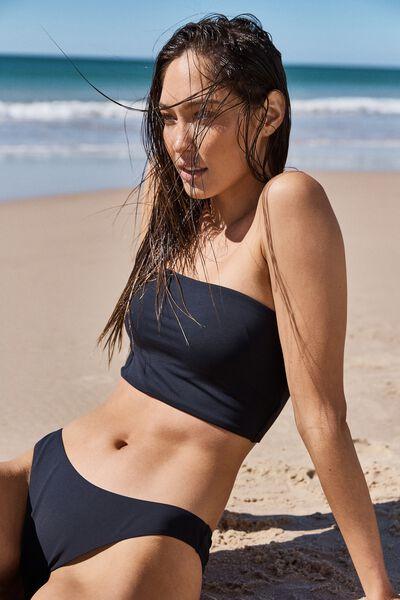 Longline Bandeau Bikini Top, BLACK