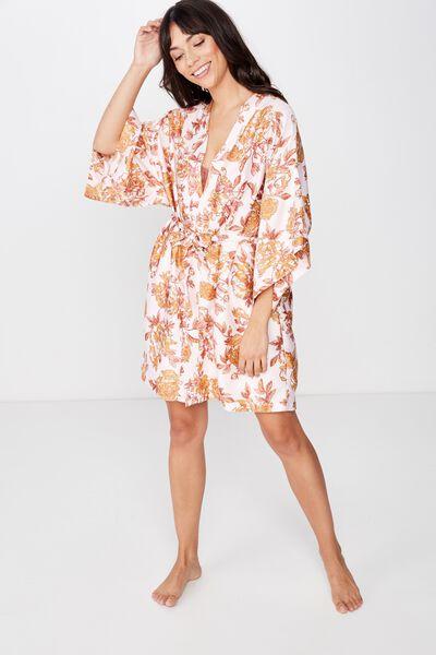 Satin Kimono Gown, SPRING TIME FLORAL/ CRYSTAL PINK