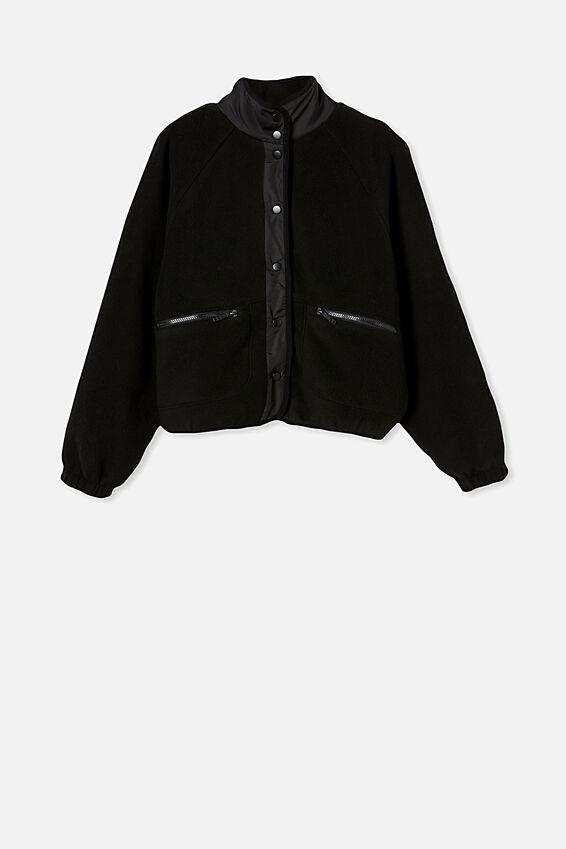 Warm Up Sherpa Jacket, BLACK