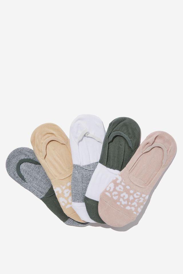 5Pk Body Invisible Sock, GREEN HAZE/OYSTER PINK