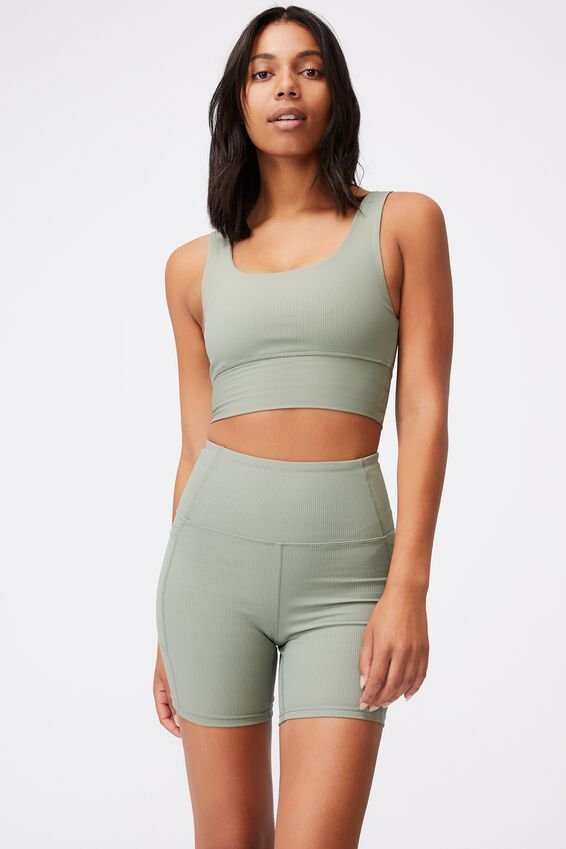 Rib Scoop Neck Vestlette, BASIL GREEN RIB