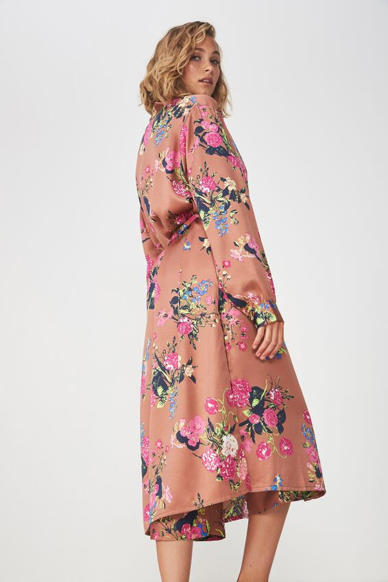 Longline Cuffed Sleeve Gown, STORY BOOKFLORAL/HAZEL