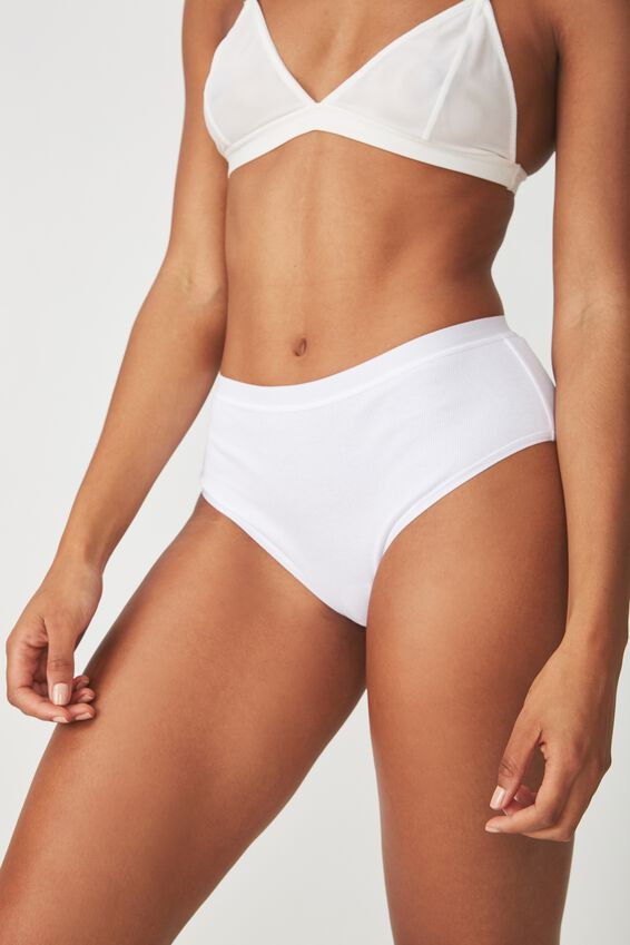 Cotton Rib High Waist Cheeky Bikini, WHITE